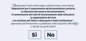 La scheda elettorale con il quesito del referendum costituzionale