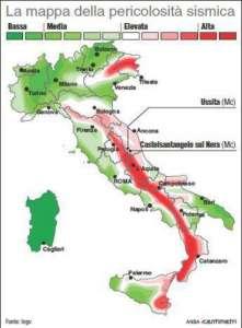 La mappa del rischio sismico in Italia compilata dal Servizio Sismico Nazionale (88mm x 120mm)