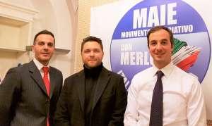 Da sinistra, nella foto: Ricky Filosa, Flavio Bellinato, Mario Borghese negli uffici del MAIE a Roma