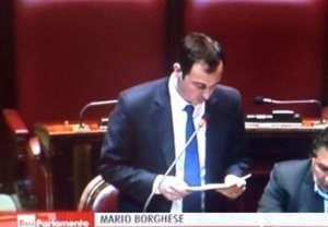 Mario Borghese durante il suo intervento in aula alla Camera
