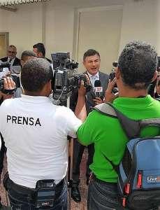 Livio Spadavecchia, Incaricato d'Affari, a colloquio con la stampa locale